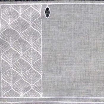 Vitrage voile brodé géométrique blanc 90 cm