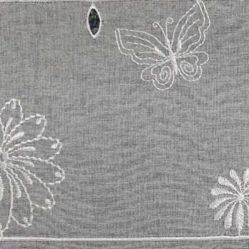 Vitrage voile brodé floral blanc 58 cm