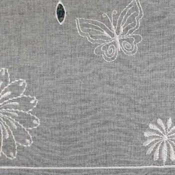 Vitrage voile brodé floral blanc 90 cm