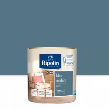 Peinture Ripolin Esprit Déco Murs, plafonds, boiseries et radiateurs bleu madura satin 0,5L