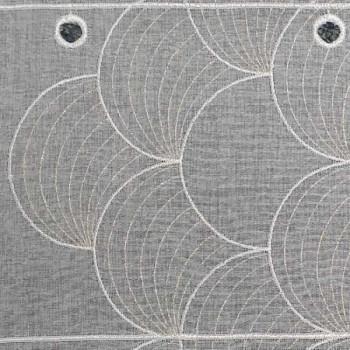 Vitrage voile brodé bulle blanc doré 90 cm