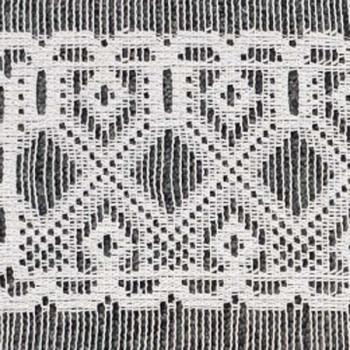 Vitrage maille motif géométrique blanc 45 cm