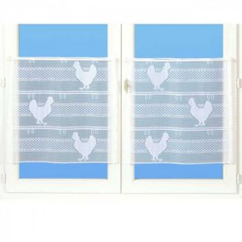 Vitrage maille motif poule blanc 45 cm