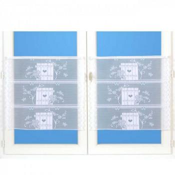 Vitrage maille motif campagne blanc 90 cm