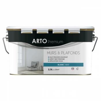 Peinture Arto Premium Murs et Plafonds Blanc Mat 2,5L