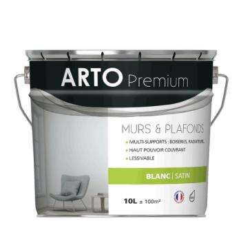 Peinture Arto Premium Murs et Plafonds Blanc Satin 10L