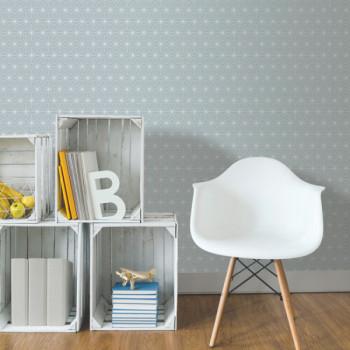 Papier peint intissé lessivable géométrique tendance nordique bleu