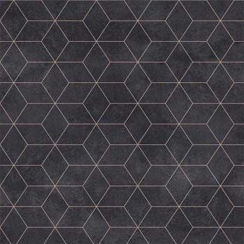 Sol PVC en rouleau feutré géométrique noir doré 2.5 mm