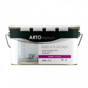 Peinture Arto Premium Murs et Plafonds Blanc Velours 2,5L