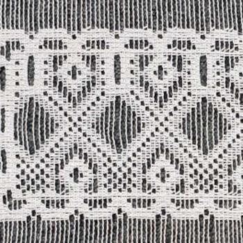 Vitrage maille motif géométrique blanc 90 cm