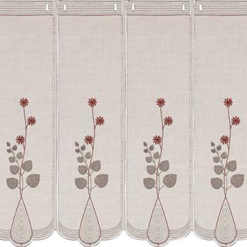 Brise-bise étamine fleur brodé gris et rouge sur fond blanc 90 cm