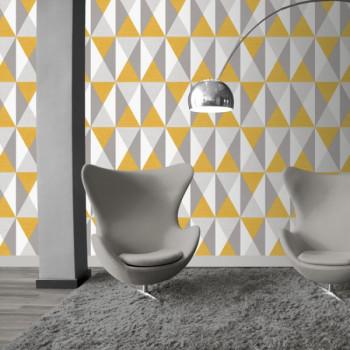 Papier peint intissé lessivable Triangles jaunes