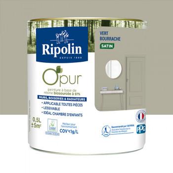 Peinture ripolin opur multi-supports vert bourrache satin 0,5L