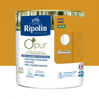 Peinture ripolin opur multi-supports jaune ambre satin 0,5L