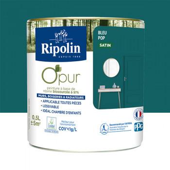 Peinture ripolin opur multi-supports bleu pop satin 0,5L