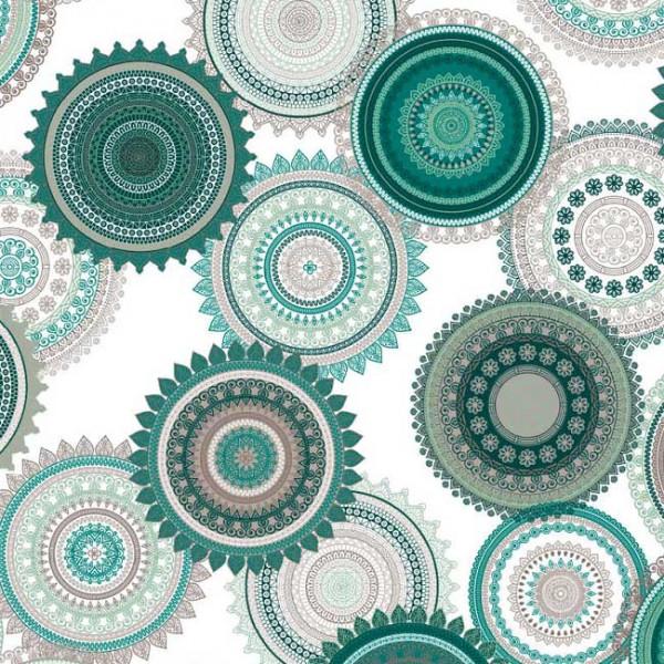 Tissu enduit motif mandala vert 160 cm