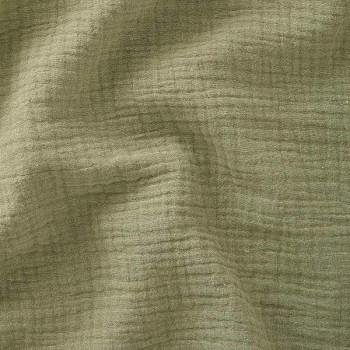 Tissu double gaze gaufrée de coton uni kaki 130 cm