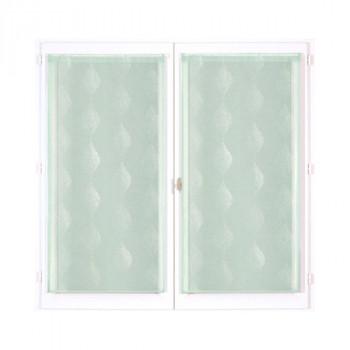 Vitrage vert à motifs blancs 60 x 120 cm