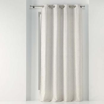 Rideau tissu jacquard beige clair éventail