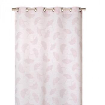 Rideau en voilage étamine rose feuille de ginko