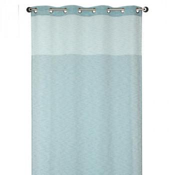 Rideau en voilage étamine bleu à rayures