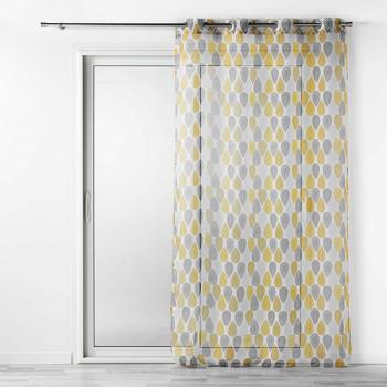Rideau voilage transparent à motifs jaune et gris
