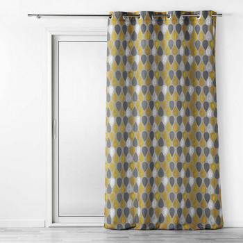 Rideau en voilage gris à motifs jaunes