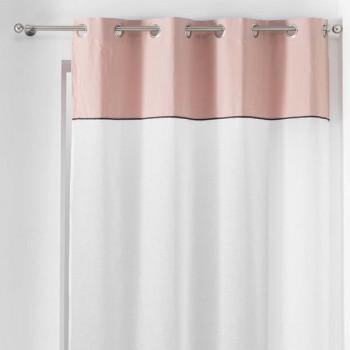 Rideau voilage blanc à bandeau rose