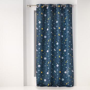 Rideau tissu bleu marine galaxy