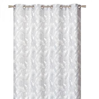 Rideau tissu jacquard blanc à feuilles grises