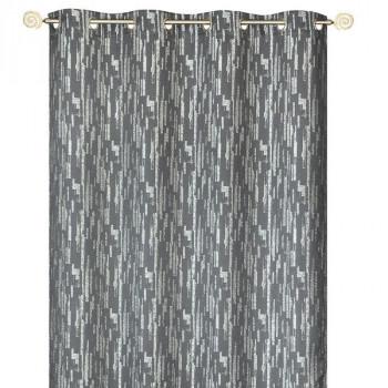 Rideau œillets tissu jacquard gris