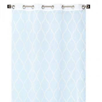 Rideau en voilage étamine bleu à motifs