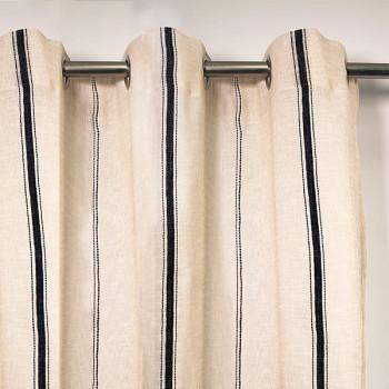 Rideau tissu écru à bandes noires