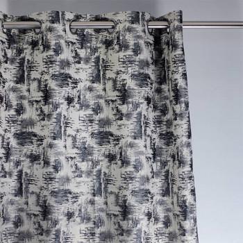 Rideau tissu gris à tâches noirs