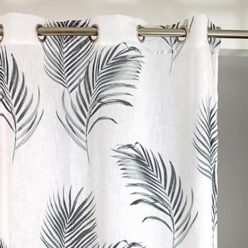 Rideau tissu blanc à feuilles grises