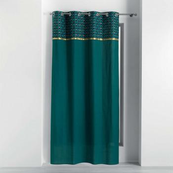 Rideau tissu vert à bandeau