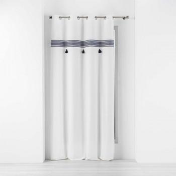 Rideau tissu blanc à bandeau