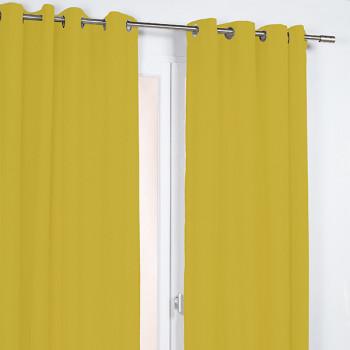 Rideau en tissu jaune moutarde