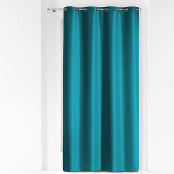 Rideau tissu bleu métallique