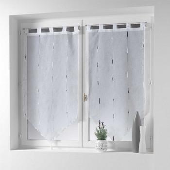 Vitrage blanc à motifs verticaux gris 60 x 160 cm