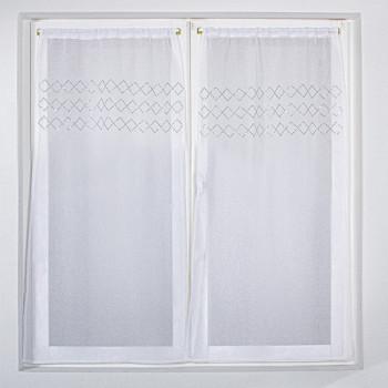 Vitrage blanc à motifs 60 x 120 cm