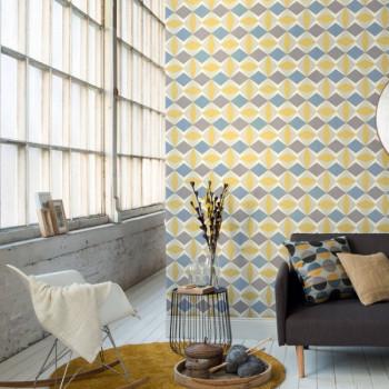 Papier peint intissé lessivable Stockholm bleu