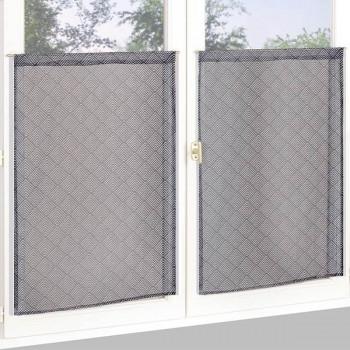 Vitrage marron à losanges gris 60 x 160 cm