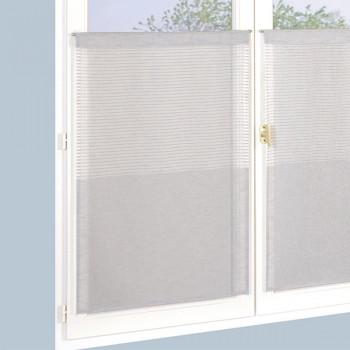 Paire de vitrages étamine top rayures gris 60 x 120
