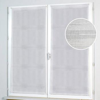 Grand vitrage blanc à rayures 80 x 210