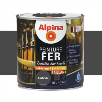 Peinture alpina antirouille spéciale fer carbonne brillant 0,5L