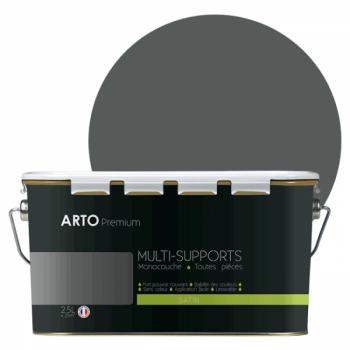 Peinture arto premium multi - supports murs, plafonds, boiseries, plinthes et radiateurs gris vautour satin  2,5 L