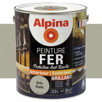 Peinture alpina antirouille spéciale fer gris franc brillant 2,5L