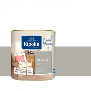 Peinture Ripolin Esprit Déco Murs, plafonds, boiseries et radiateurs gris urbain satin 0,5L