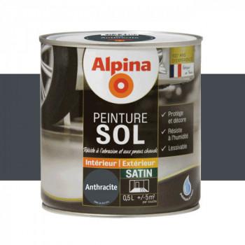 Peinture alpina spéciale sol gris anthracite satin 0,5L